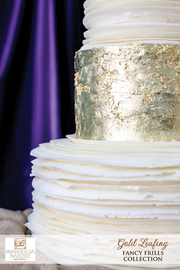 Magnolia Bakery Wedding Cakes : Gold Leafing from the Fancy Frills Collection