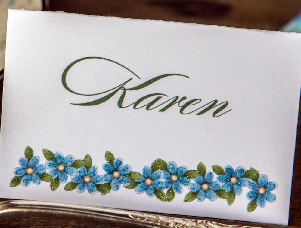 Forget Me Not Wedding Place Cards from WeddingGirl on etsy {aka the girl from Brenda's Wedding Blog}