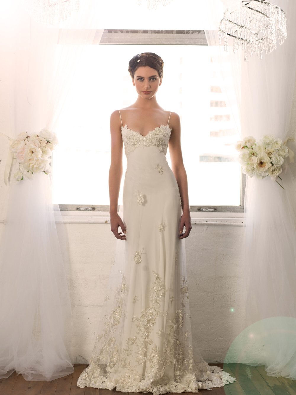 Sarah Janks Wedding Gown - Fall 2014 Collection {Daphne} : shimmering with a beaded and embroidered botanical motif, available with cap sleeves