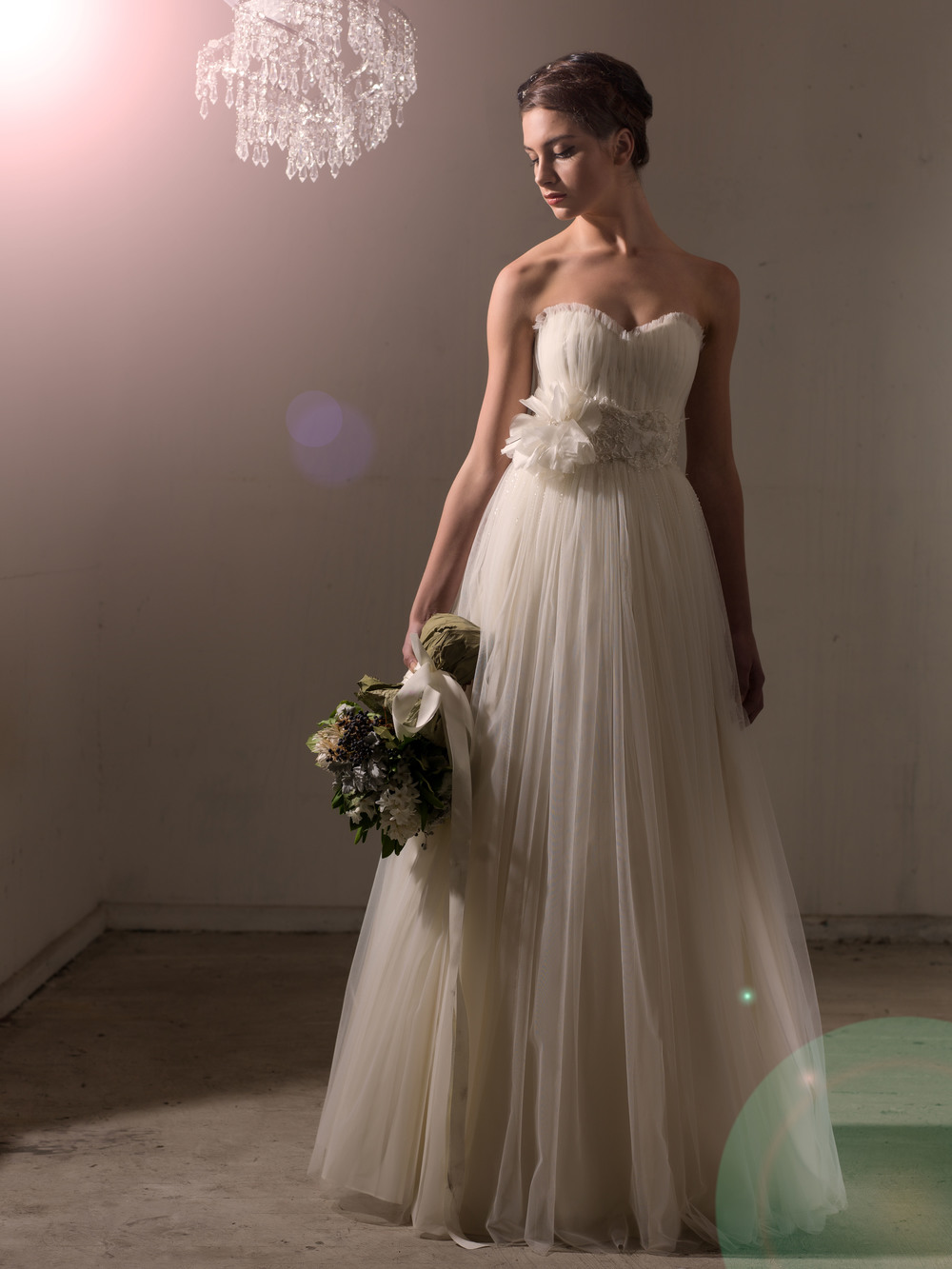 Sarah Janks Wedding Gown - Fall 2014 Collection {Davinia} : spun of fine tulle and decadent silk gazaar, gathered ball gown skirt, strung with dainty beads