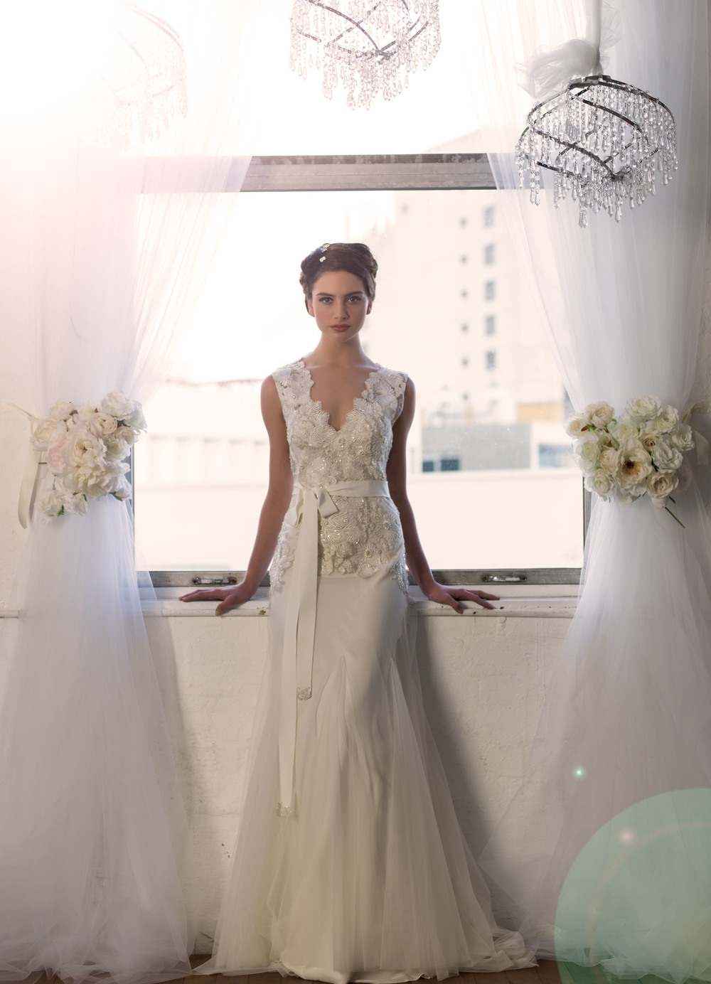 Sarah Janks Wedding Gown - Fall 2014 Collection {Delilah} : embroidered flowers accented with faceted beads on a sheer, tulle overlay
