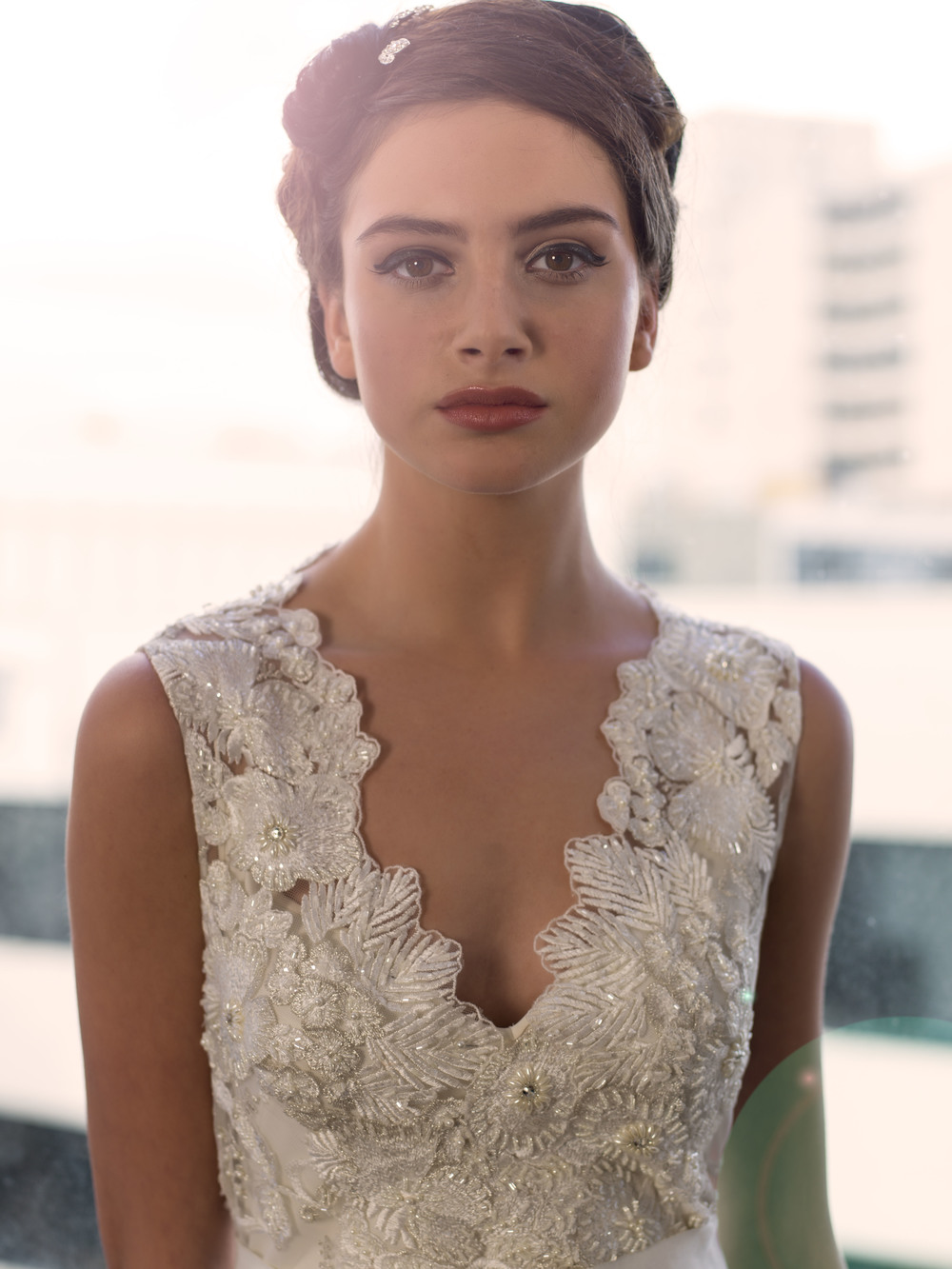 Sarah Janks Wedding Gown - Fall 2014 Collection {Delilah in detail} : embroidered flowers accented with faceted beads on a sheer, tulle overlay