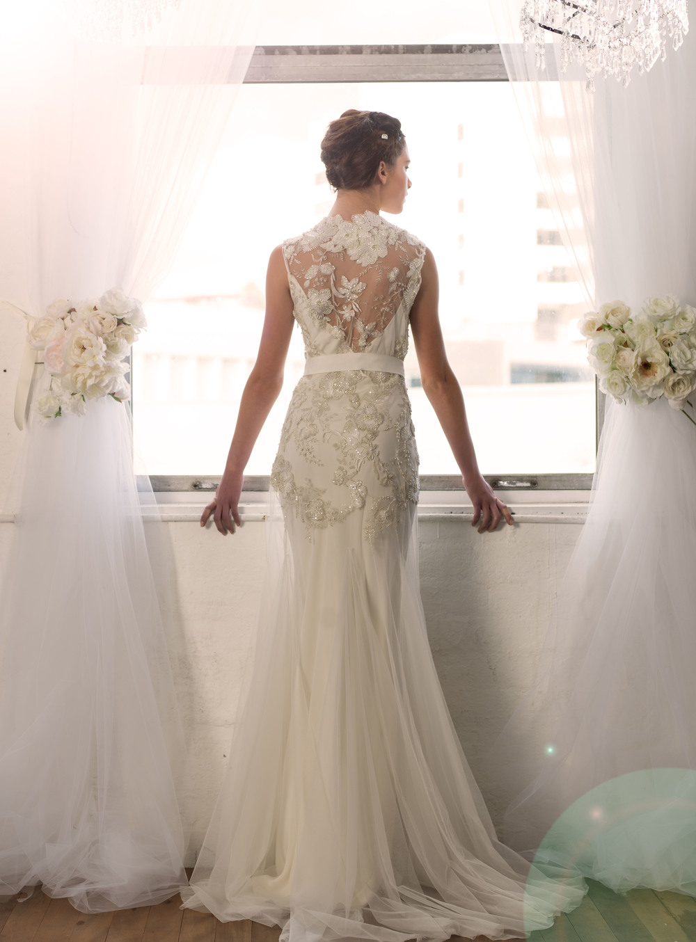 Sarah Janks Wedding Gown - Fall 2014 Collection {Delilah, the backside} : embroidered flowers accented with faceted beads on a sheer, tulle overlay