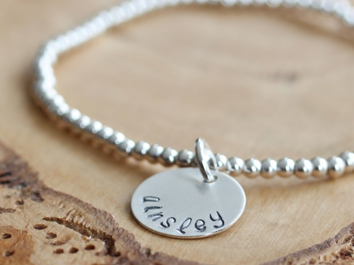 Personalized Hand Stamped Name Bracelet in Silver {Leigh} | perfect bridesmaid gift