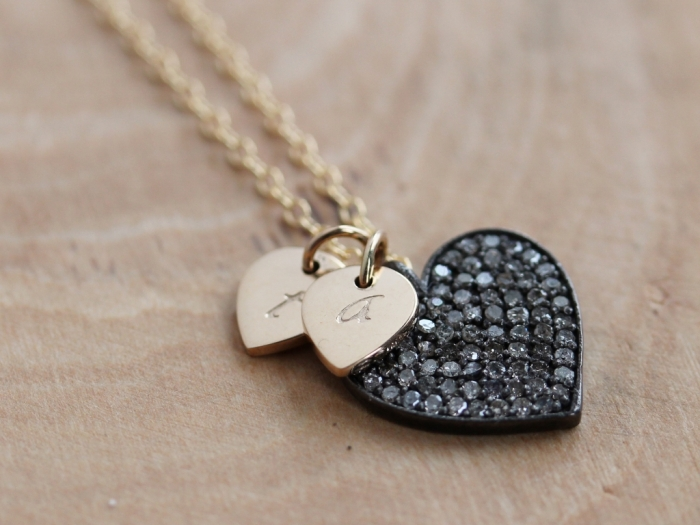 Personalized Pave Diamond Heart Necklace with stamped heart charms | perfect gift to the bride from the groom