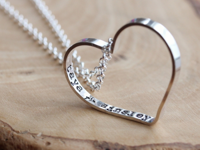 Personalized Everyday Heart Sterling Silver Necklace with your Secret Wishes | another great gift for the groom to give to his bride