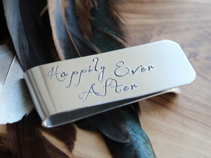 Personalized and Hand Stamped Mens Money Clip | sweet gift for the bride to surprise his groom with