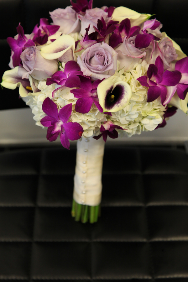 gorgeous purple and white wedding bouquet | photo by Tab McCausland Photography