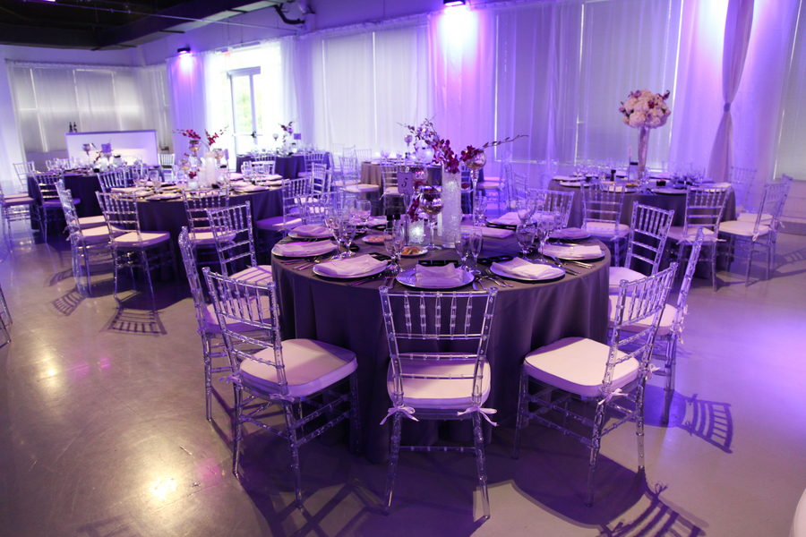 beautiful purple wedding reception room | photo by Tab McCausland Photography