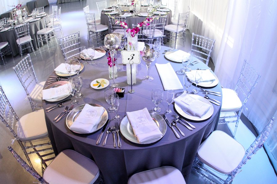 beautiful pink and purple reception tables | photo by Tab McCausland Photography