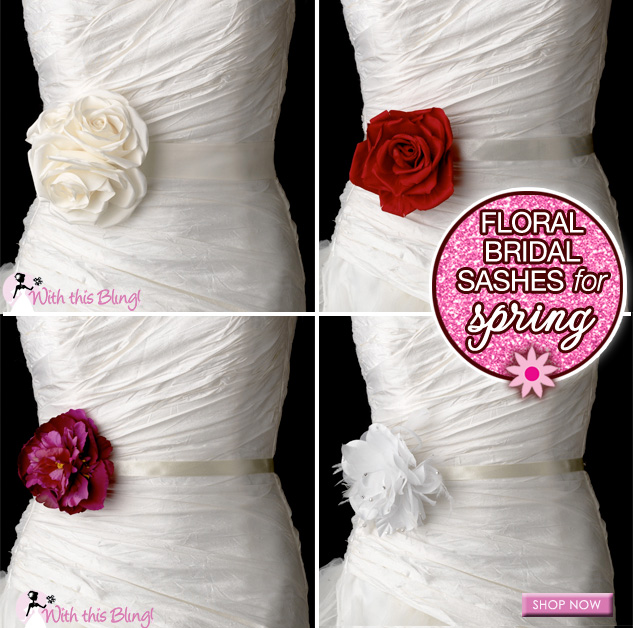 Floral Bridal Sashes - perfect choices for spring weddings