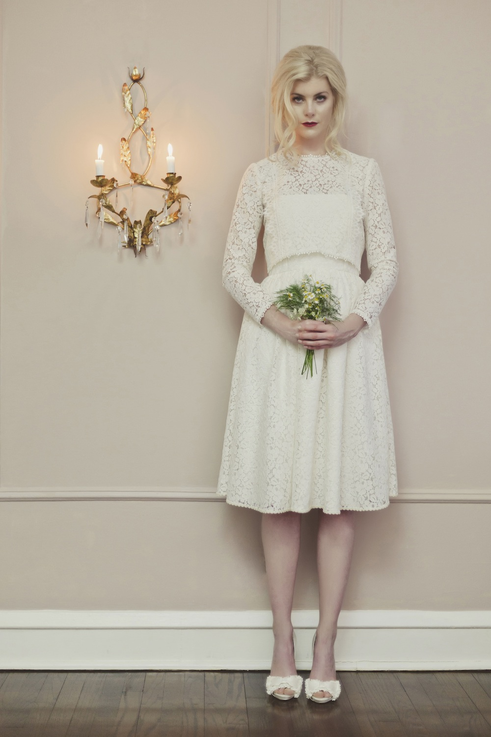 Veronica Sheaffer Chamomile Knee-length Wedding Gown with Daisy Lace Blouse
