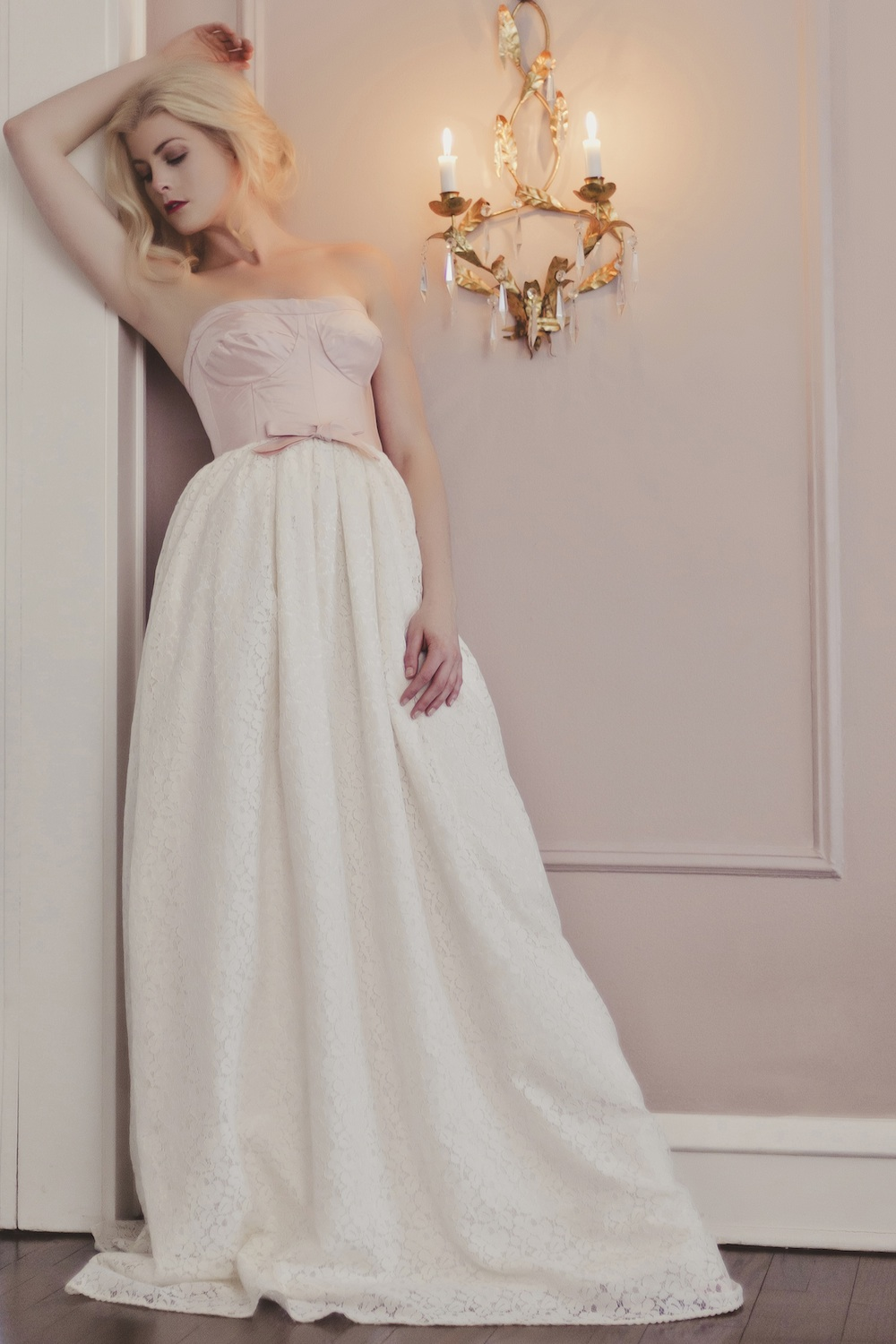Veronica Sheaffer Peony Wedding Gown with Bodice Top and Ivory Lace Skirt