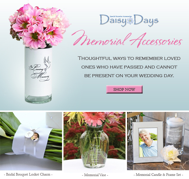Memorial Accessories to remember loved ones on your wedding day #bouquetcharms #memorialvases #memorialcandles