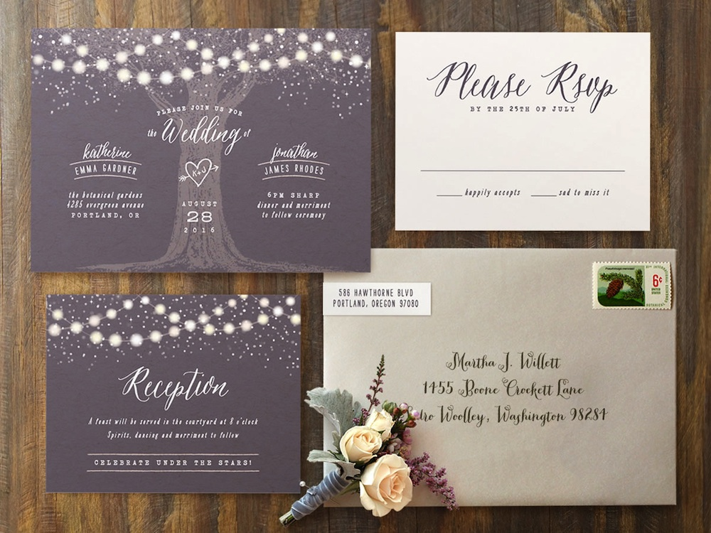 Garden Lights Wedding #Invitations | romantic and #rustic invite for an illuminated outdoor evening #wedding