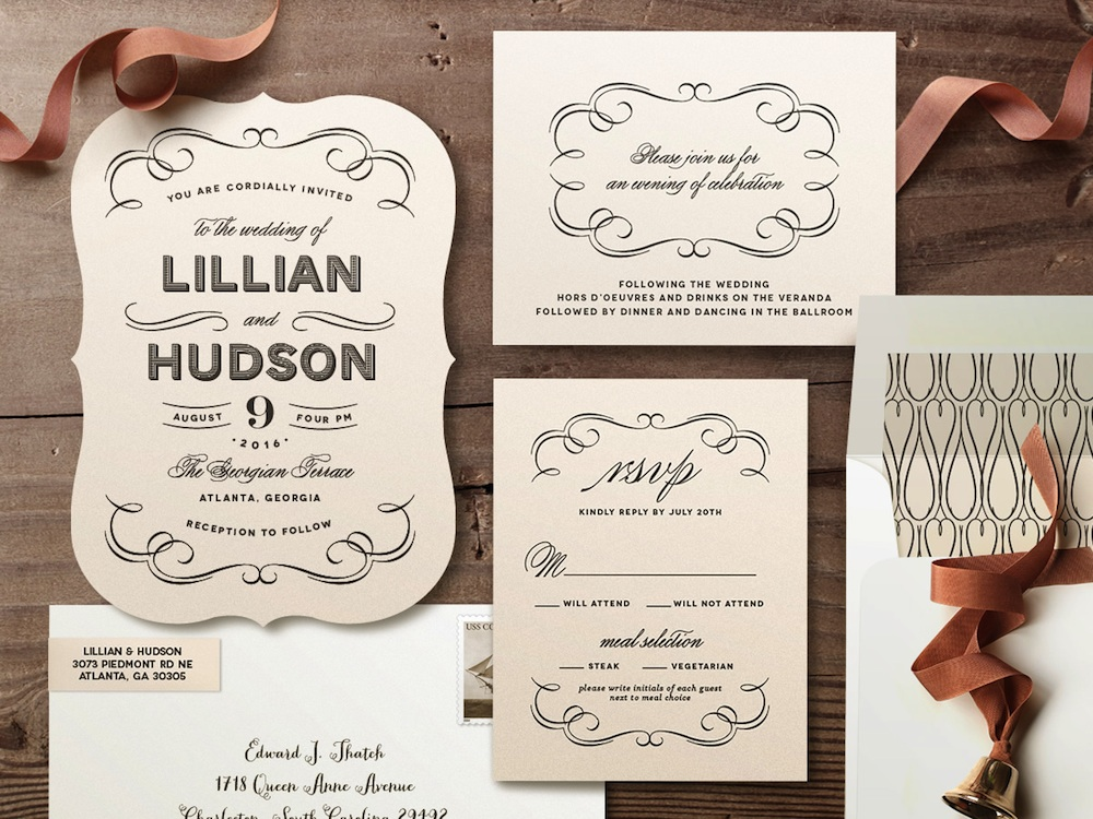 Doux Amour Wedding Invitations | #vintage flourishes and typography are the key elements of this romantic #wedding #invitation