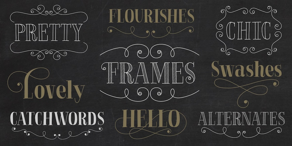La Chic Font - whimsical font with lots of style and flair + over 575 glyphs