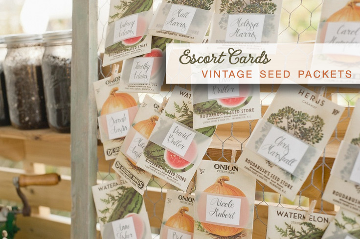 Vintage Seed Packets as escort cards for weddings | image via eco-beautifulweddings.com