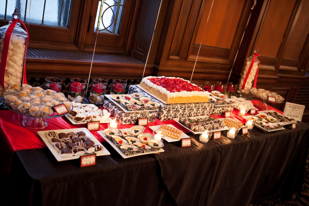Black, Red and White dessert display from Madeline's Weddings & Events in Canada | via the Wedding Vendors I ♥™ Guide on www.brendasweddingblog.com