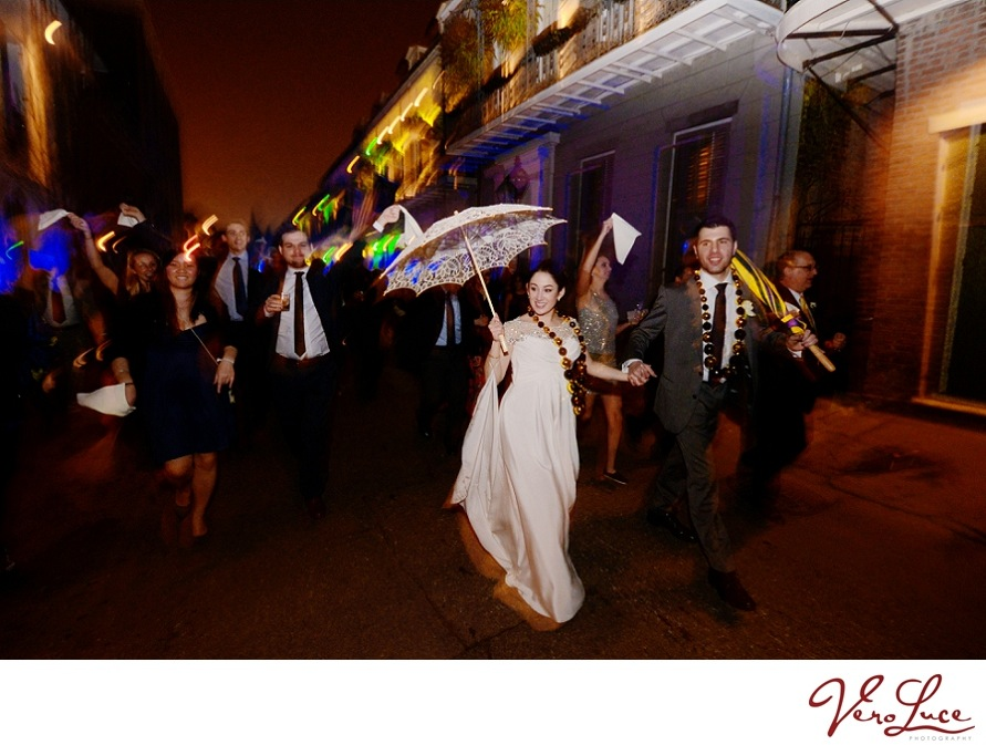 The couple had their very own Second Line parade through the French Quarter for the New Orleans wedding | photo by VeroLuce Photography