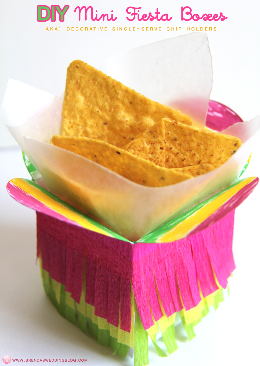 DIY Mini Fiesta Boxes with crepe paper fringe from www.brendasweddingblog.com #cincodemayo #fiestas #tacobars