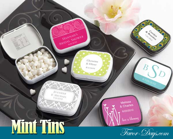 Personalized Mint Tin Favors with Heart Shaped Mints | as seen on www.brendaweddingblog.com