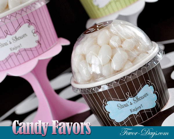 Personalized Jelly Bean Candy Cupcake Favors | as seen on www.brendaweddingblog.com