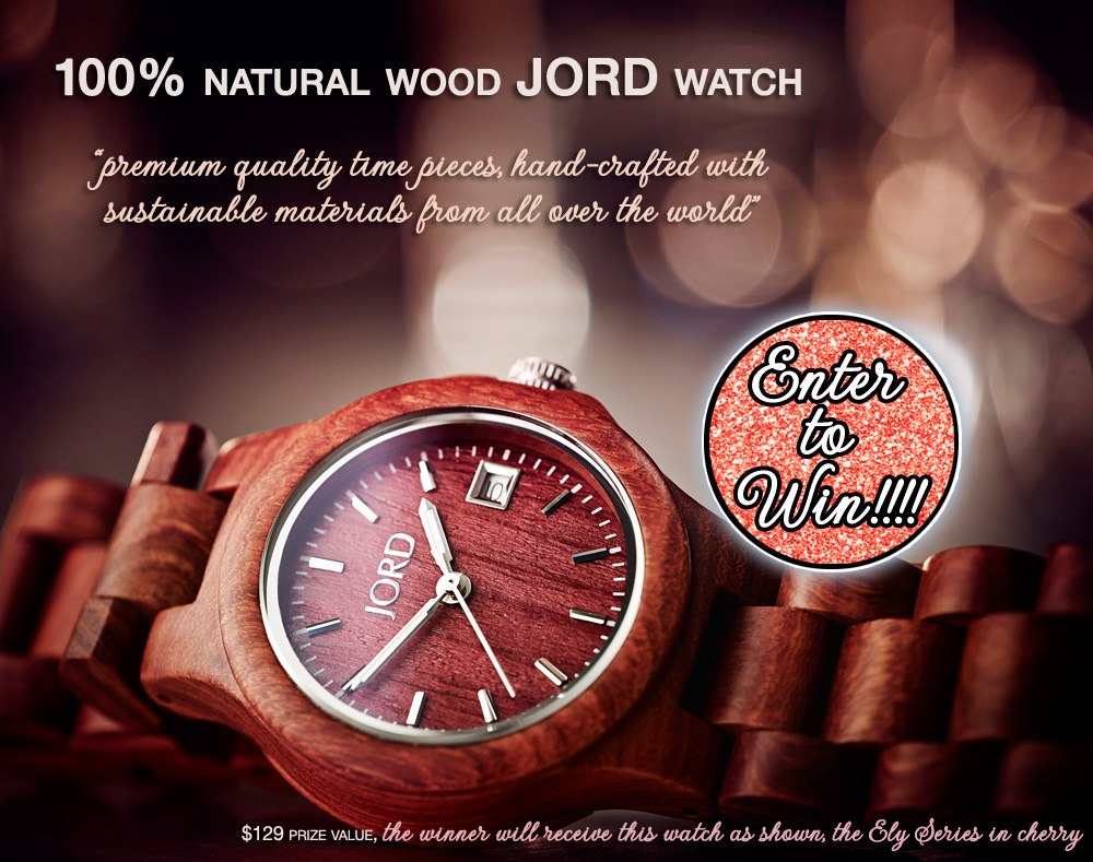Enter to Win a 100% Natural Wood Jord Watch - the Ely Series in Cherry {$129 value} on www.brendasweddingblog.com
