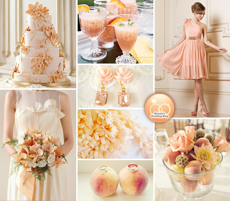 Peach Themed Wedding Inspiration Board | incorporating the color and the fruit into weddings | from www.brendasweddingblog.com/blogs/2014/5/15/peach-themed-wedding-inspiration-board-more-peach-goodies