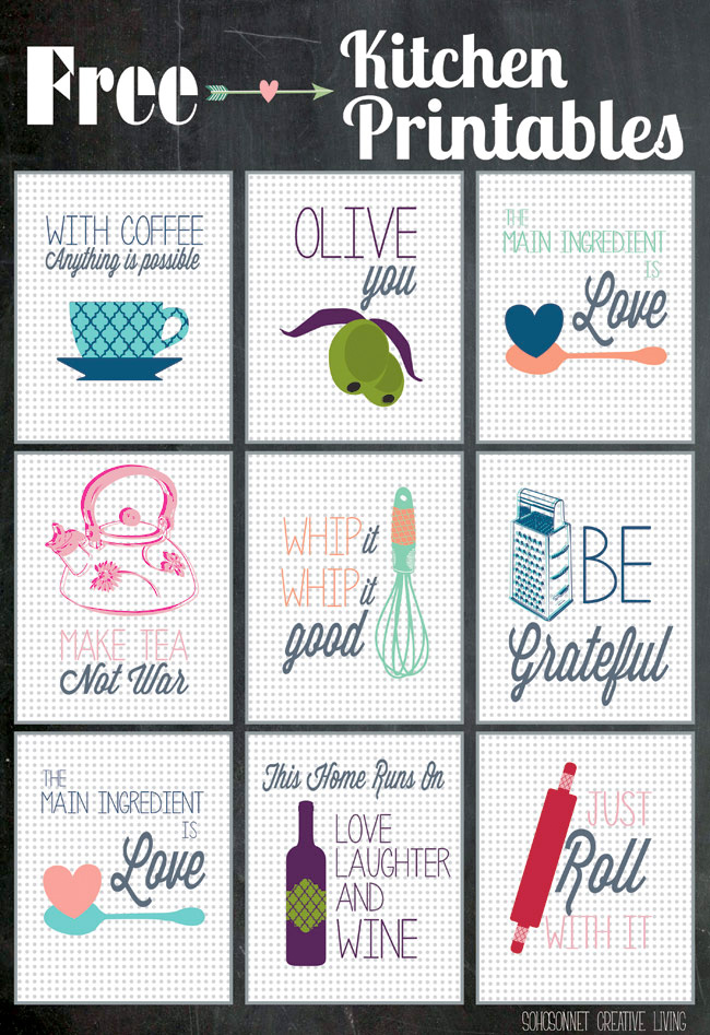 Free Kitchen Printables : from The Happy Housie - perfect for kitchen themed bridal showers