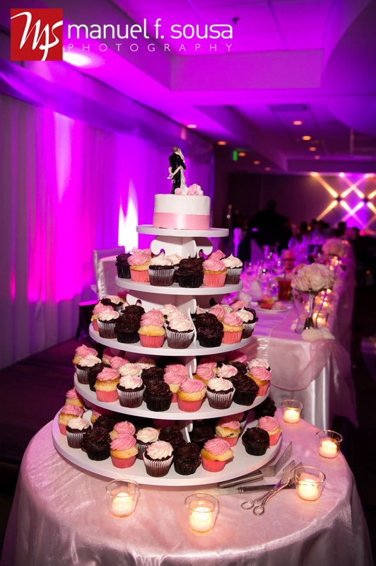 Cupcake Tower with mini wedding cake on top from The Cupcake Corner | photo by Manuel F. Sousa Photography | Wedding Coordination by Madeline's Weddings and Events