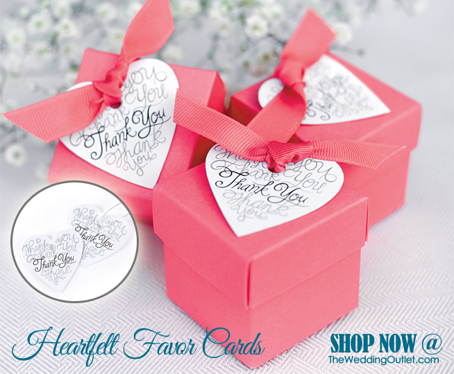 Heartfelt Thank You Favor Cards - hole punched and ready for the ribbon of  your choice