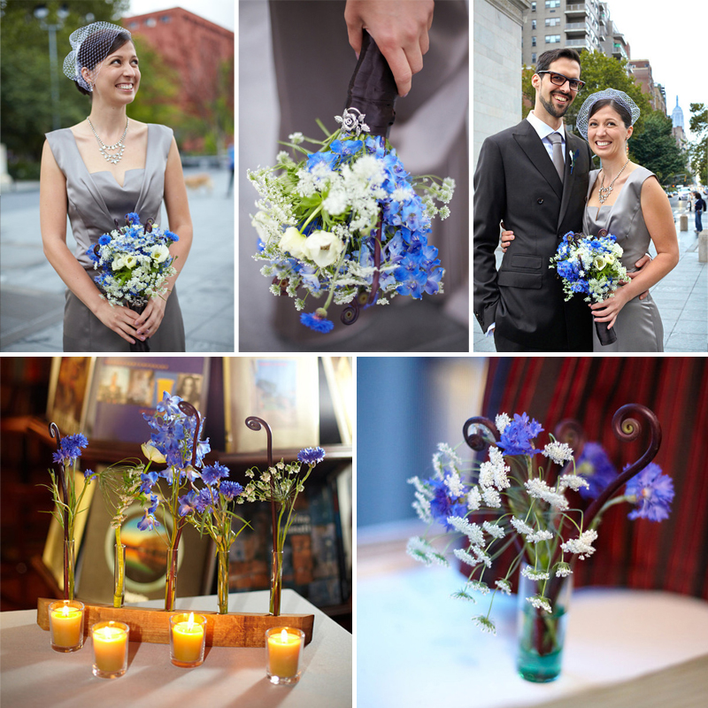 Modern Blue Wedding with florals from Fifty Flowers www.fiftyflowers.com | via the wedding guide on www.brendasweddingblog.com