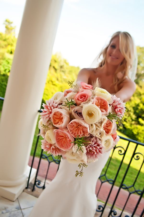 Stunning Peach and Pale Yellow Bridal Bouquet | photo by wwww.EverAfterVisuals.com as seen on www.brendasweddingblog.com
