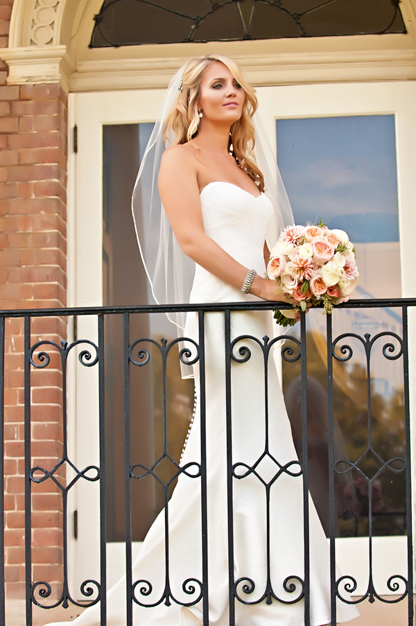 Bridal portrait on a balcony | photo by wwww.EverAfterVisuals.com as seen on www.brendasweddingblog.com