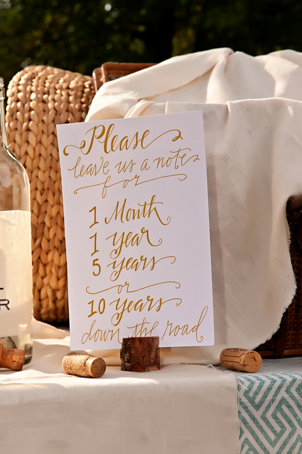 Cute wedding guest book idea - guests leave notes for 1 month, 1 year, 5 years or 10 years | photo by wwww.EverAfterVisuals.com as seen on www.brendasweddingblog.com
