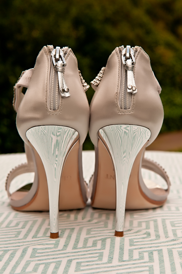 LOVE the Reflection of the Table Linen in the Heels of the Bridal Shoes | photo by wwww.EverAfterVisuals.com as seen on www.brendasweddingblog.com