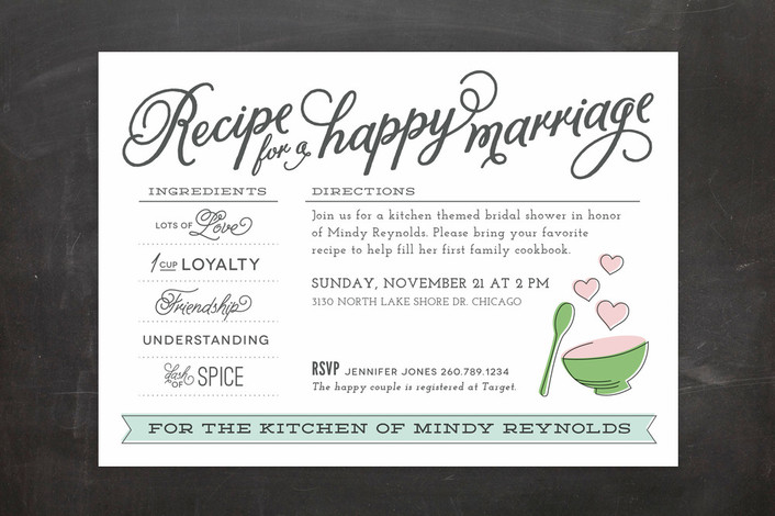 Recipe for a Happy Marriage Bridal Shower Invitation