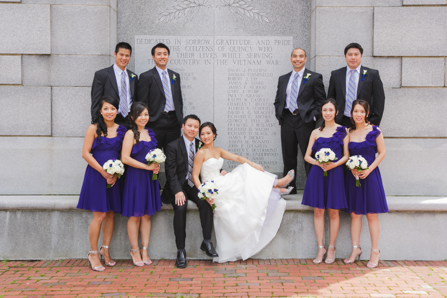 The Bride and Groom with their Wedding Party in Boston | photo by Nicole Chan Photography