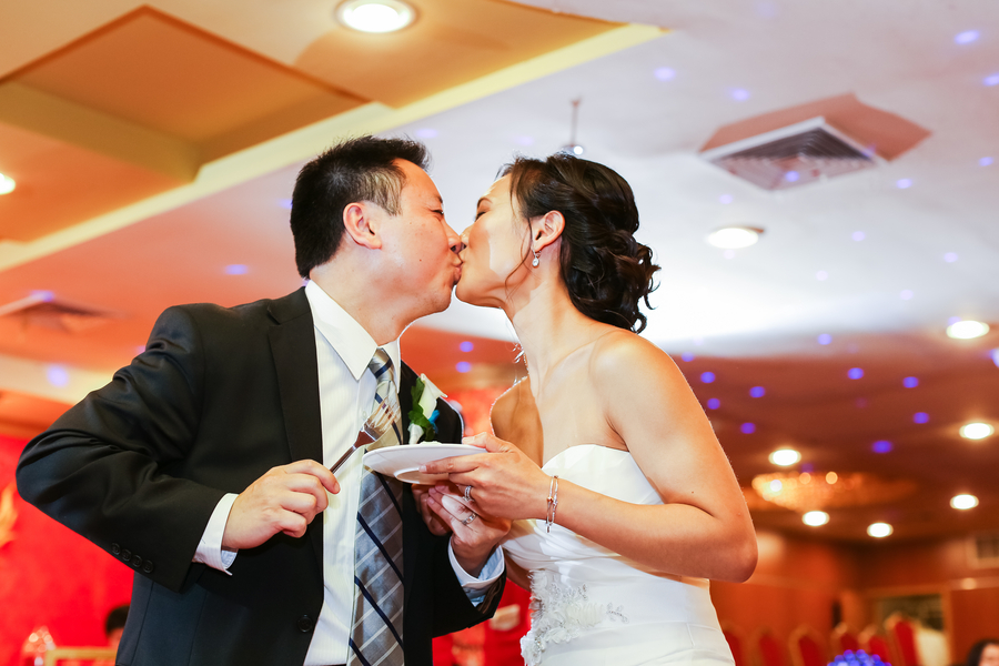 "The ""after cake cutting"" kiss 