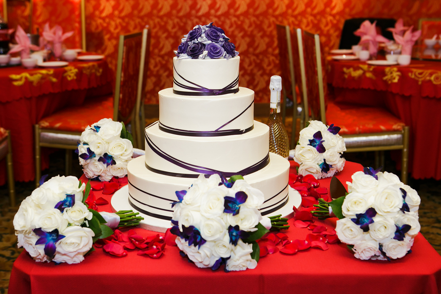 The wedding cake from a Traditional Chinese Wedding Tea Ceremony in Boston | photo by Nicole Chan Photography