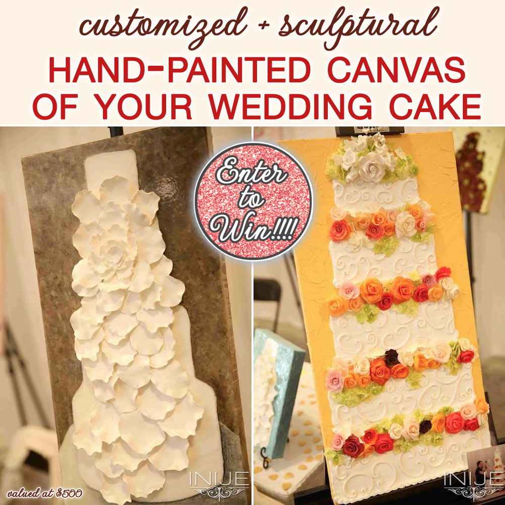 Enter to Win your very own customized and sculptural hand-painted canvas of your wedding cake from Smash Cake Canvas on www.brendasweddingblog.com