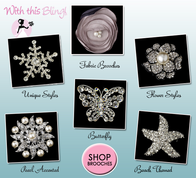 Shop Sparkly #Brooches at With This Bling | via www.brendasweddingblog.com/blogs/2014/6/16/add-some-sparkle-with-a-brooch-10-off-at-with-this-bling