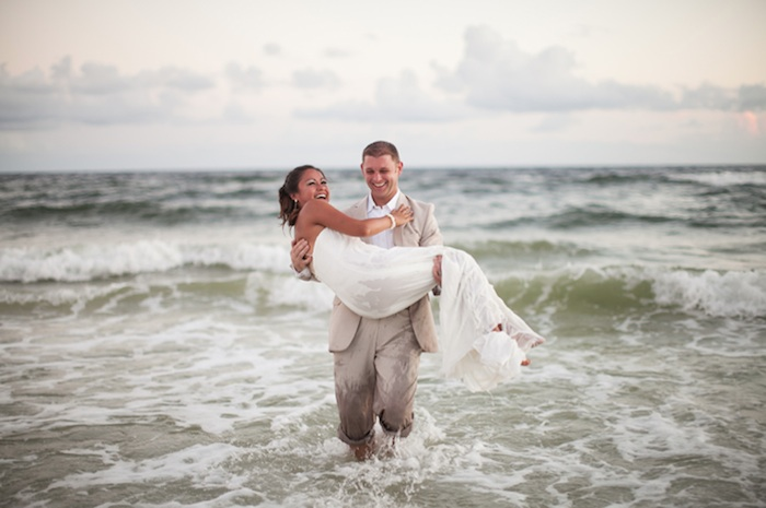 This bride and groom got wet after they married ... Your Wedding, Your Way | photo by Brett Birdsong Photography