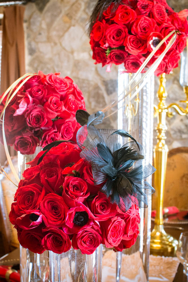Super Pretty Red Rose Centerpieces from a 1950's era Styled Bridal Shoot | bouquet by Bluegrass Chic | photo by The Story Telling Experience