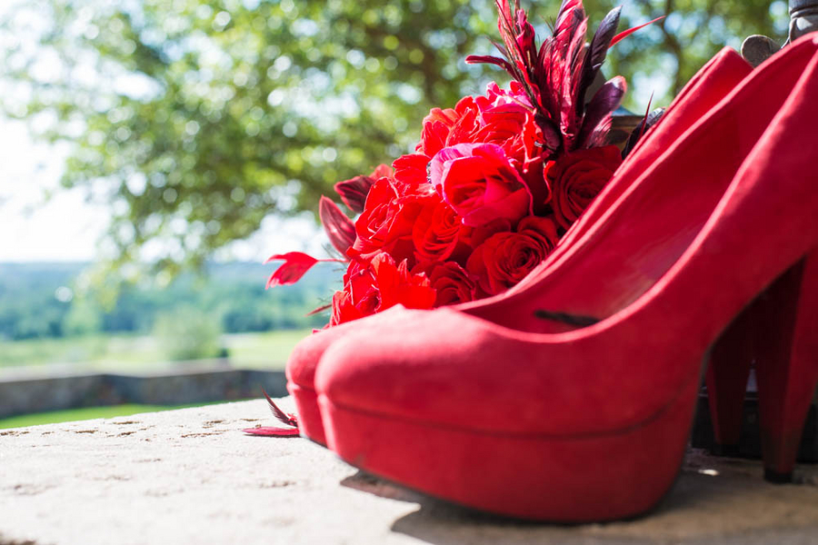 Fun red high heels from a Hollywood Glam Styled Bridal Shoot | photo by The Story Telling Experience