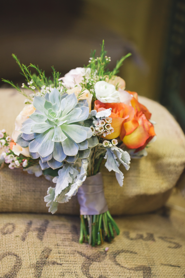 Gorgeous Bouquet in grey, pink, terra cotta, and peach from Eight Tree Street | as seen on BrendasWeddingBlog.com