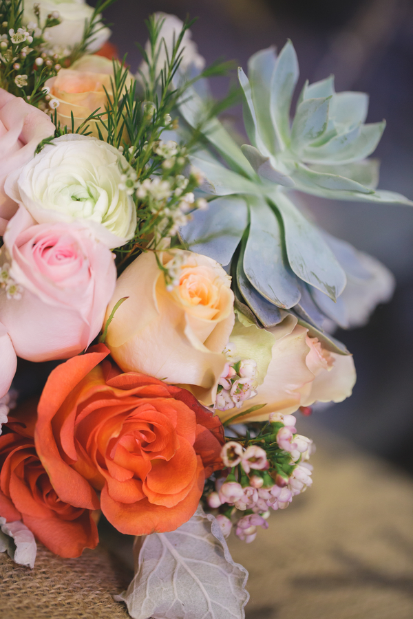 Stunning Detail of the Wedding Bouquet in grey, pink, terra cotta, and peach from Eight Tree Street | as seen on BrendasWeddingBlog.com