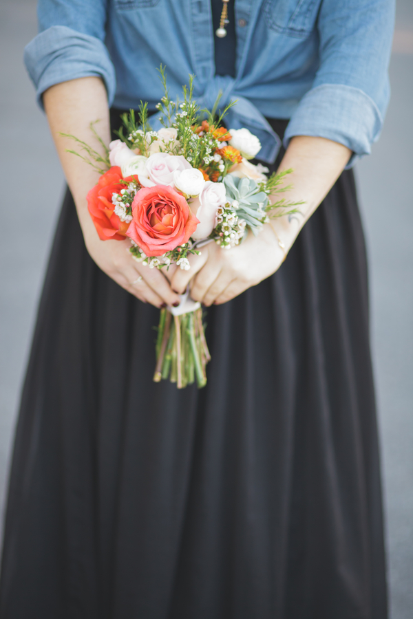 Casual Bridesmaids Attire with a Button Down Denim Shirt and Skirt and a mini bouquet from Eight Tree Street | as seen on BrendasWeddingBlog.com