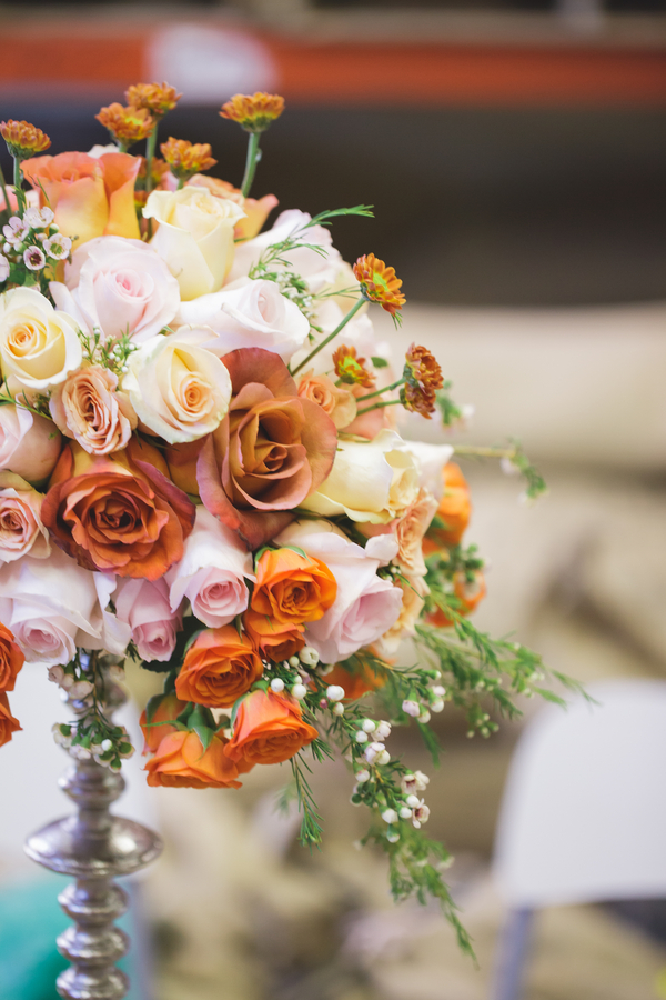 Stunning Tall Wedding Floral Centerpiece from Eight Tree Street | as seen on BrendasWeddingBlog.com